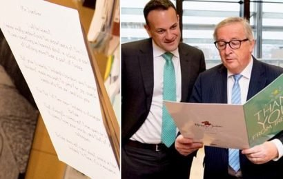 Juncker and Varadkar show off Brexit 'thank you card from Ireland'