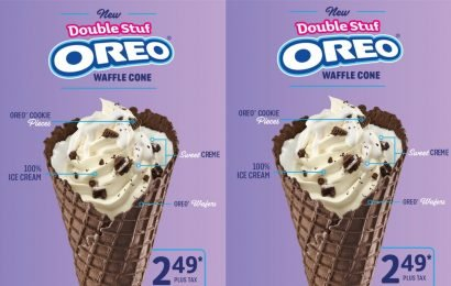 Sonic's New Double Stuf Waffle Cone Has A Cone Literally Lined With Oreo Creme
