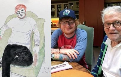 Ed Sheeran reveals his portrait by David Hockney