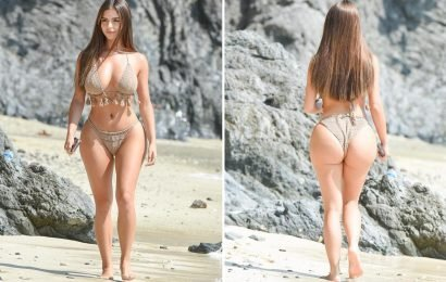 Demi Rose shows off incredible curves in fringed bikini on the beach in Phuket during sun-soaked Thailand break