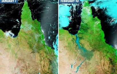 River in Australia turns into 37-mile-wide 'MEGA RIVER' visible from SPACE after year's worth of rain falls in one week