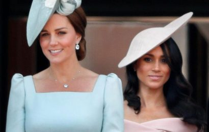 Meghan Markle 'has to stand behind Kate Middleton' at events as she's lower down the 'pecking order', royal expert reveals