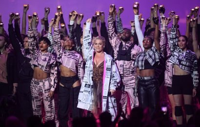 What songs did Pink perform during her Brits 2019 performance, who did she duet with and did the singer have a political message?
