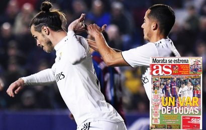 Grumpy Gareth Bale refuses to celebrate with Real Madrid team-mates after coming on to score penalty winner vs Levante