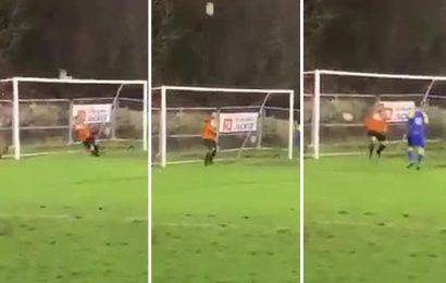 Watch world's luckiest penalty that hits crossbar and bamboozles keeper before going in