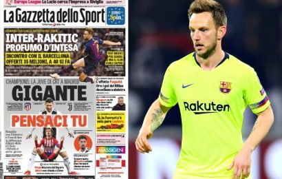 Inter 'close' to signing Man Utd and Chelsea target Rakitic from Barcelona but Catalan club want £39m