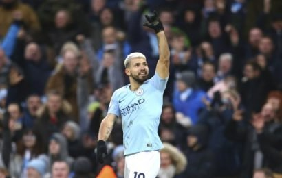 Aguero hits three as City sink Arsenal, United roll on