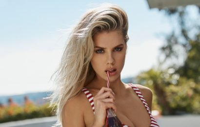 Charlotte McKinney Looks Super Sexy In Candy Stripe Bikini For GUESS – See Hot Pic