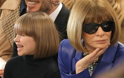 The Bobbsey Twins! Victoria Beckham's Daughter Harper Is Anna Wintour's Mini-Me at London Fashion Week