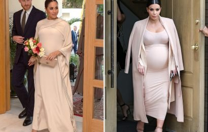 Meghan Markle is keeping up with Kim Kardashian as she twins her pregnancy style on royal visit to Morocco