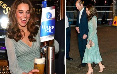 Laughing Kate Middleton pulls a pint in £1,600 Missoni gown as she visits Belfast pub with Prince William