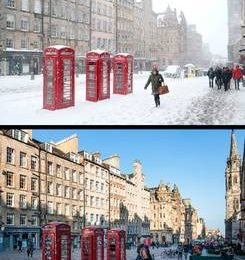 In Pictures: Sunshine and snow – weather changes one year apart