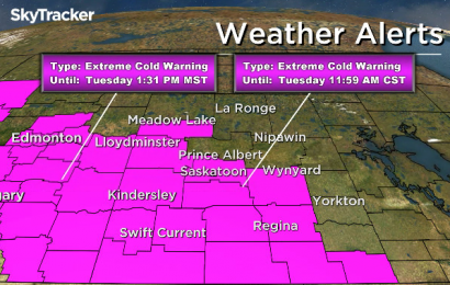 Parts of Saskatchewan under extreme cold warning