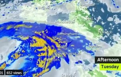 Flood warnings as two-day downpour is set to sweep Britain TONIGHT