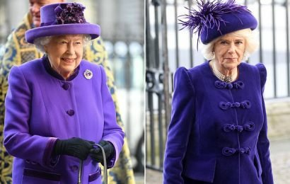 Queen and Camilla don matching shades at the Commonwealth Day service