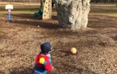 Basketball boy, four, shows off his amazing skills in a park in Ohio