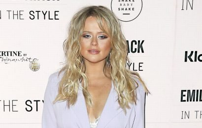 Emily Atack stumbles out of party after celebrating her fashion launch