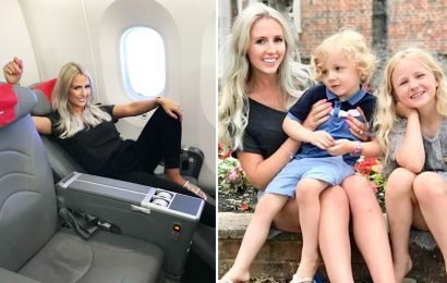 Mum dumps her husband, nine-year-old daughter and son, four, in economy while she flies first class because 'the kids are too young to appreciate it'