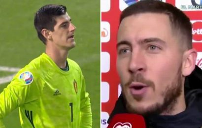 Chelsea snake Courtois mocked by Hazard after former team-mate makes howler for Belgium