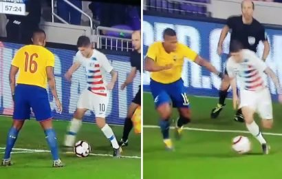 Watch Chelsea new boy Pulisic embarrass Man Utd's Valencia with quick feet during USA's win over Ecuador