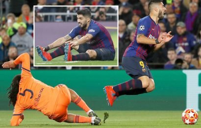 Calls for 'cheat' Luis Suarez to be banned for life after 'dive' in Barcelona win over Lyon