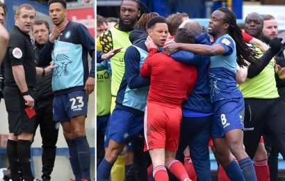 Three players sent off after Wycombe's clash with Sunderland descends into mass brawl