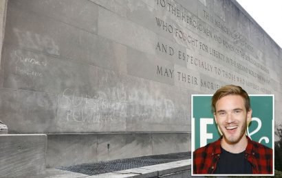 Vile PewDiePie fans vandalise WWII memorial to promote his YouTube after he rallied supporters in bid to remain site's most popular channel