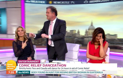 Piers Morgan has Good Morning Britain fans in hysterics as he 'dad dances' to 50 Cent's In Da Club while mocking Tess Daly and Claudia Winkleman's moves