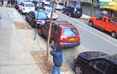 Girl in New York caught on camera running for cover as man opens fire into group of people