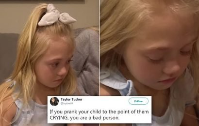 YouTubers slammed for making their daughter cry with dog prank
