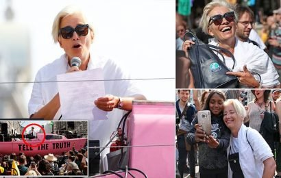 Actress Emma Thompson leads hundreds of climate activists