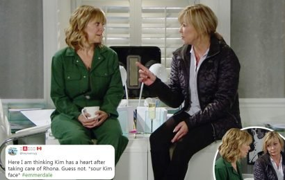 Emmerdale fans fear Kim Tate will use Rhona Goskirk drug addiction confession against her