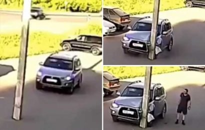 Idiot driving straight into a huge pole might be the funniest crash ever – and his reaction is priceless