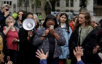 Diane Abbott struggles with megaphone and gets snowflake 'jazz hands' applause in case clapping causes anxiety as she praises Extinction Rebellion eco mob