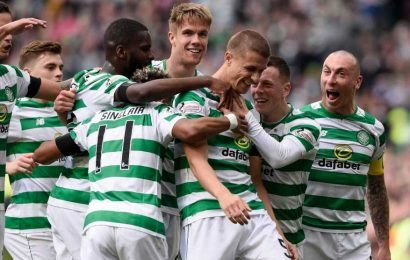 Celtic's No5 Jozo Simunovic scores on day of tributes to Billy McNeill just after 67 minutes