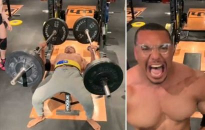 Powerlifter who trains with Game of Thrones' The Mountain bench presses 110kg bar – in EACH HAND