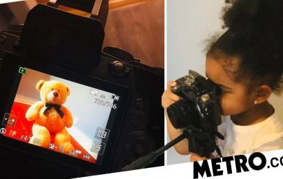 Photographer, three, takes her photoshoots with bear and Ant-man very seriously