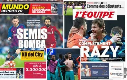 Man City and Spurs lauded across Europe's paper after incredible night in Champions League for English teams setting up 'mega semis'