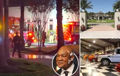 George Foreman's luxury mansion ravaged after fire breaks out in boxing legend's garage with 40 multi-million pound classic cars inside