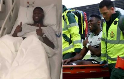 Man Utd youngster Timothy Fosu-Mensah smiles in hospital bed after successful knee surgery