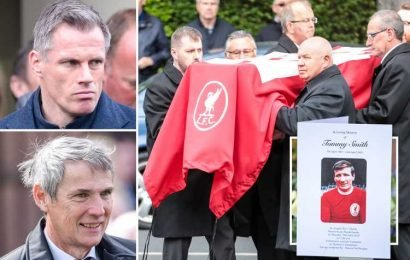 Liverpool legends Jamie Carragher and Alan Hansen pay respects to Tommy Smith as fans gather for Anfield Iron Man's funeral