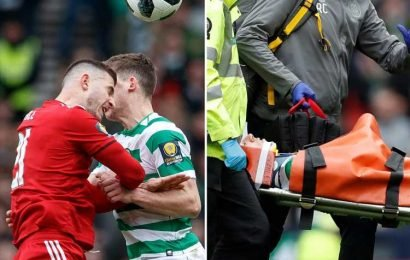 Celtic star Christie taken off in neck brace as Aberdeen ace Ball sees red for challenge