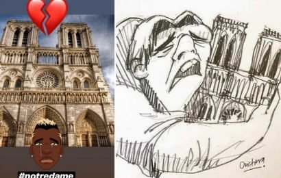Notre Dame fire leads to outpouring of grief from Neymar, Kylian Mbappe and Man Utd star Paul Pogba