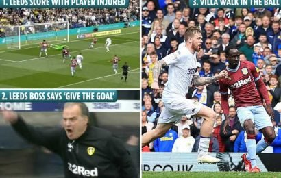 Leeds gift Aston Villa uncontested goal in amazing show of sportsmanship from Bielsa after mass brawl between players