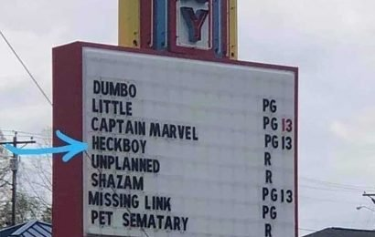 Theater near church changes 'Hellboy' to 'Heckboy' on sign