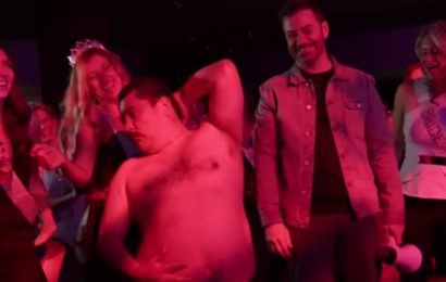 Jimmy Kimmel and Guillermo Crash a Bachelorette Party, Chippendales Stage