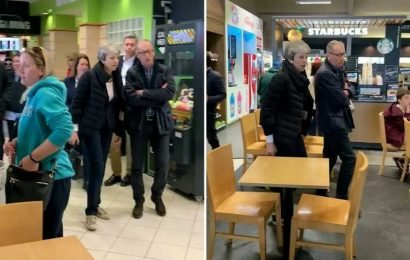 Theresa May's security team shut down women's toilets at M54 service station as she makes pit stop on way to holiday