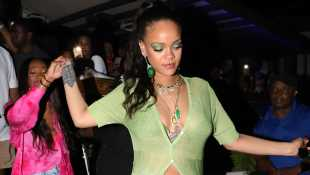Rihanna Stuns In Sparkly Bikini Top & Daisy Duke Shorts For Brother's Birthday Party In Barbados