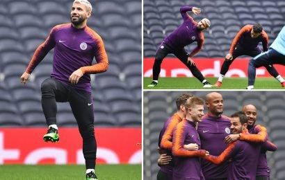 Aguero hands Man City massive injury boost as he returns to training ahead of Champions League clash with Tottenham