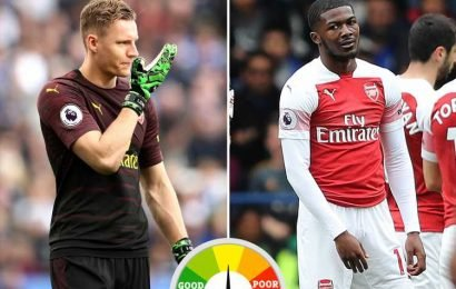 Arsenal player ratings: Leno keeps scoreline respectable as Maitland-Niles sees early red